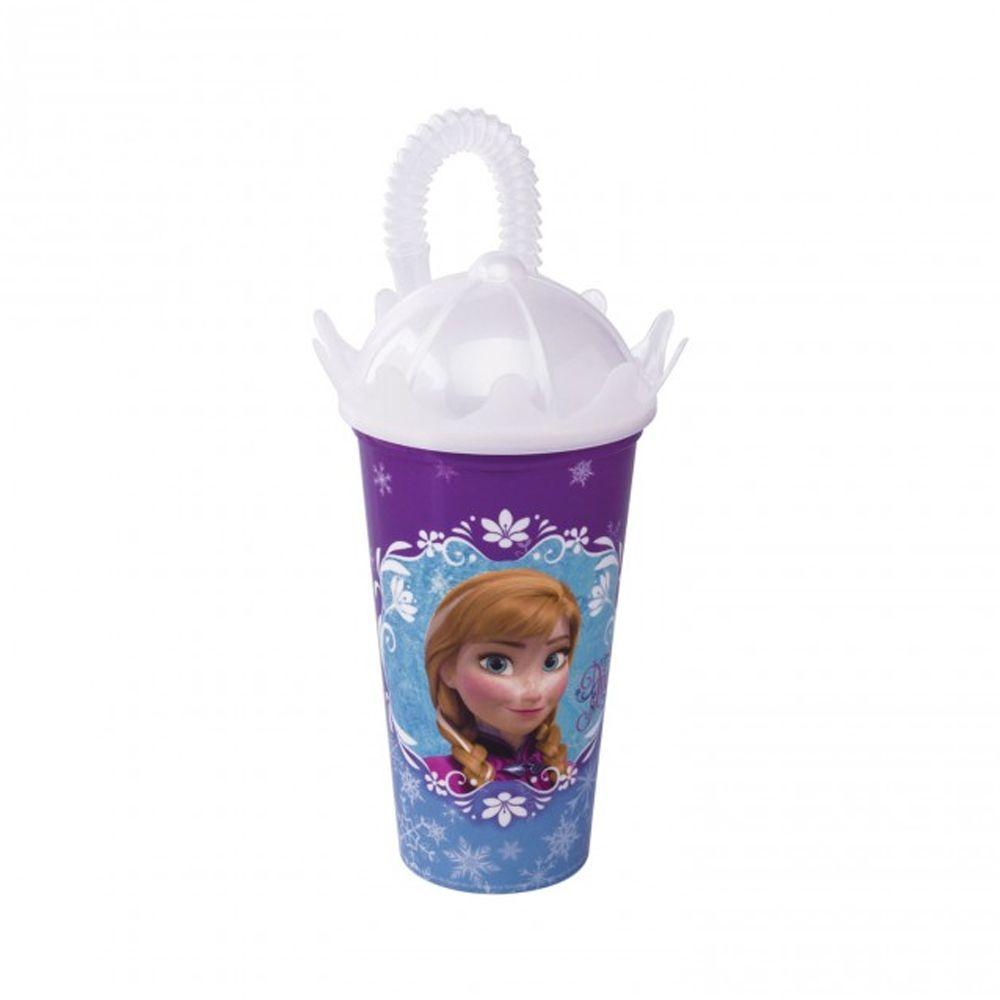 Copo com Tampa Coroa e Canudo Frozen 500 ml    - Final Decor