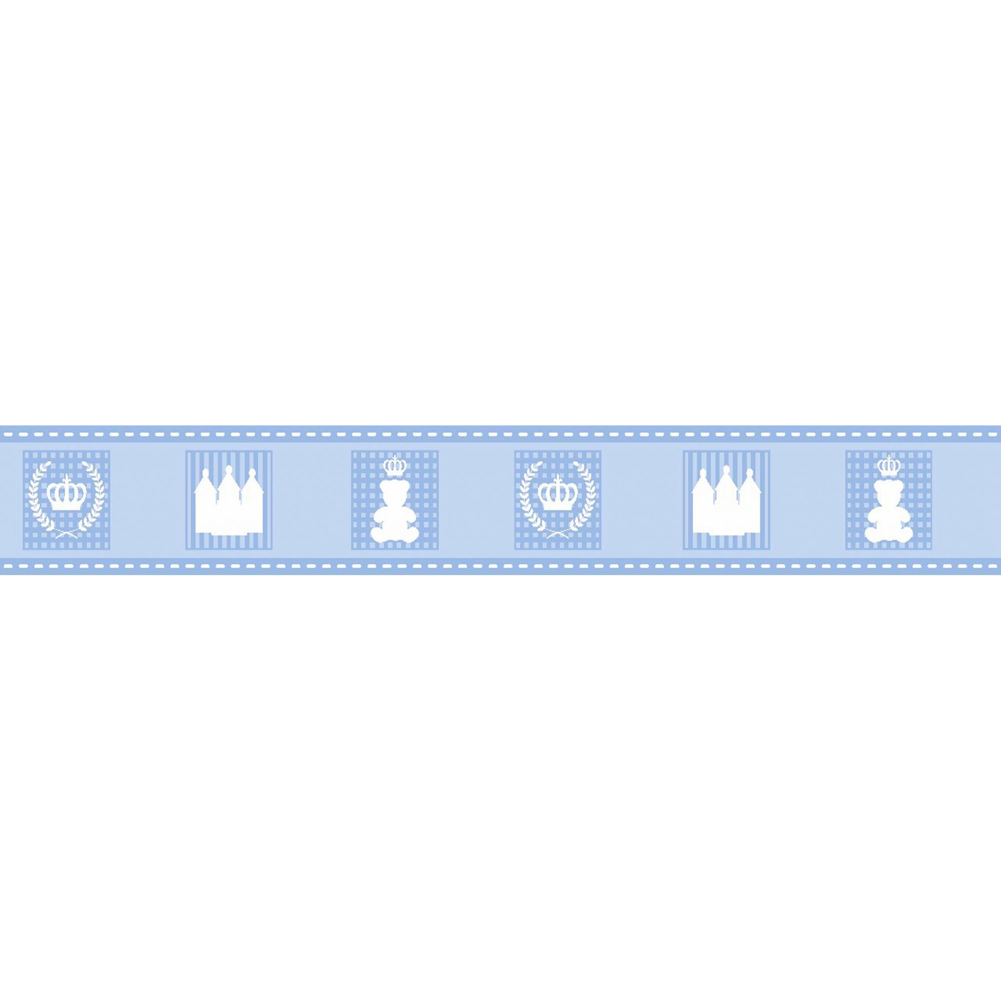 Faixa Decorativa Adesiva Urso Coroa Azul  - Final Decor