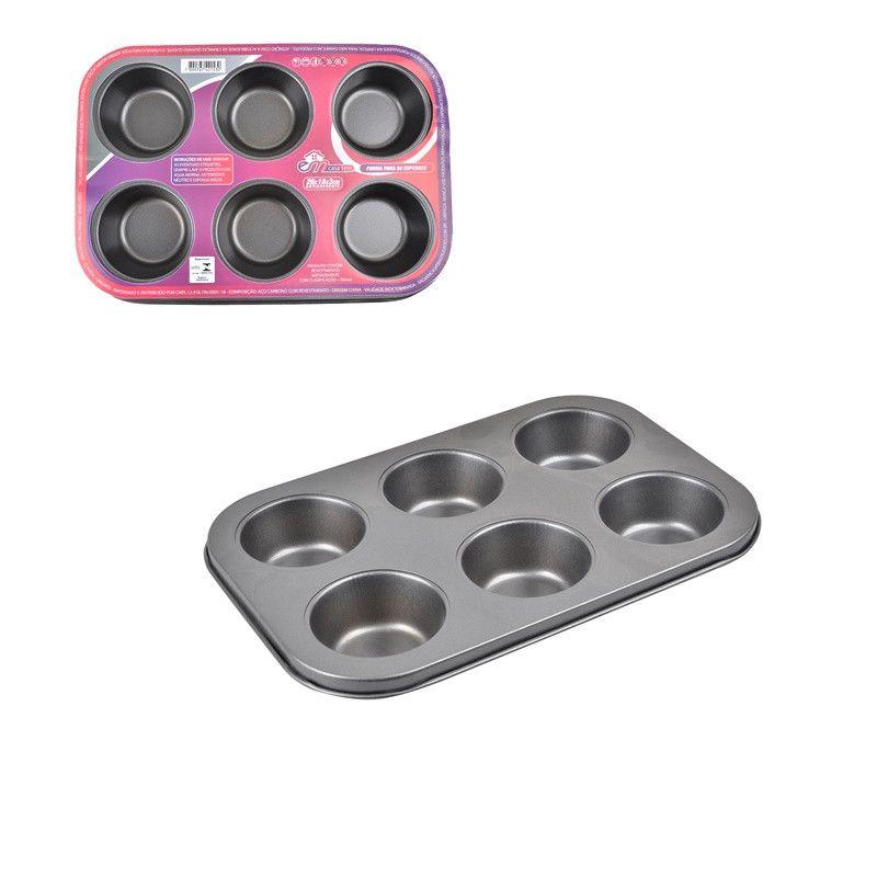Forma para 6 Cupcakes em Aço Carbono com Antiaderente  - Final Decor