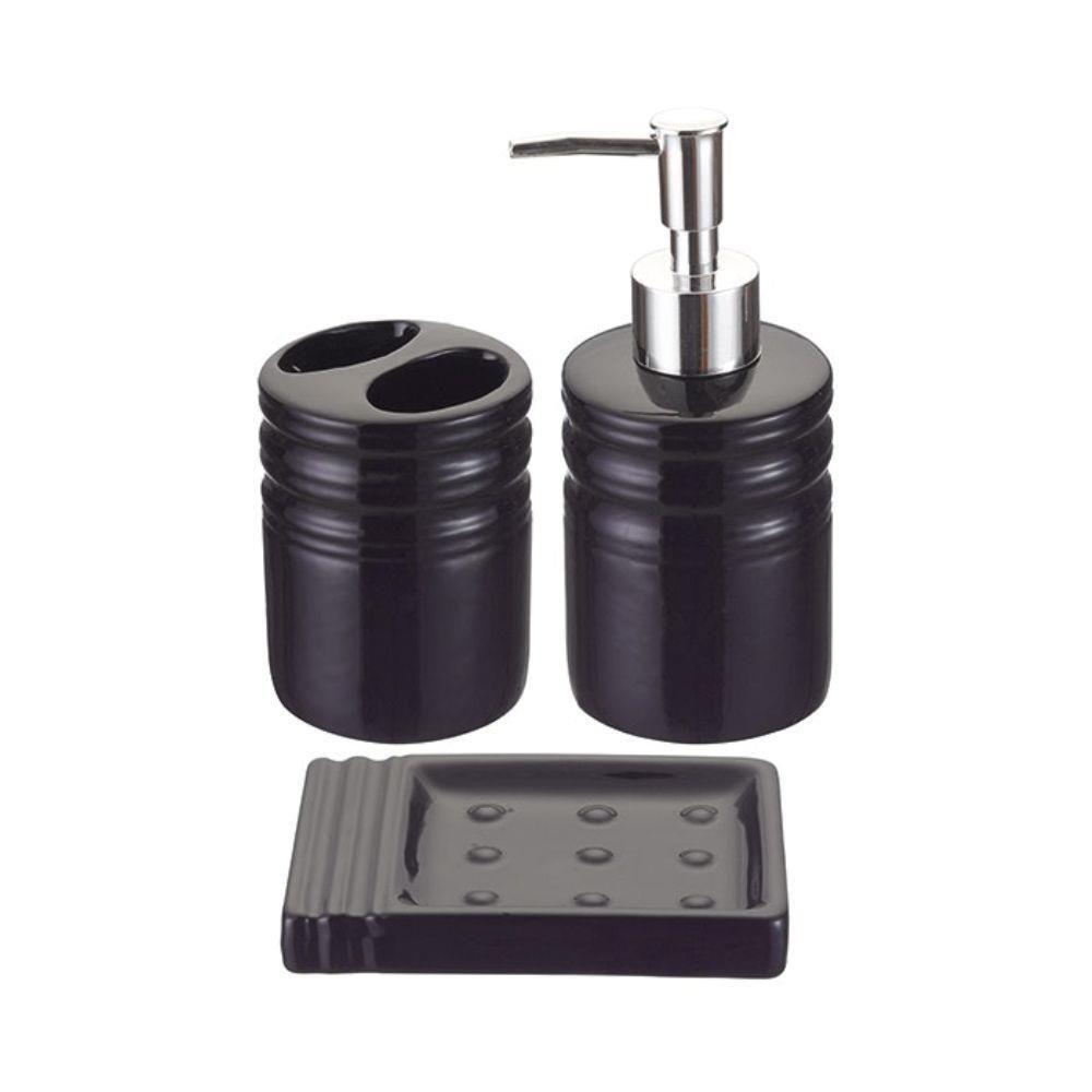 Kit Para Banheiro Branco Cerâmica E Plástico 3 Produtos - Art House Preto  - Final Decor