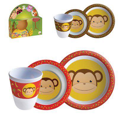 Kit Refeição com Talher Tigela e Copo Macaquinho Macaco Infantil  - Final Decor