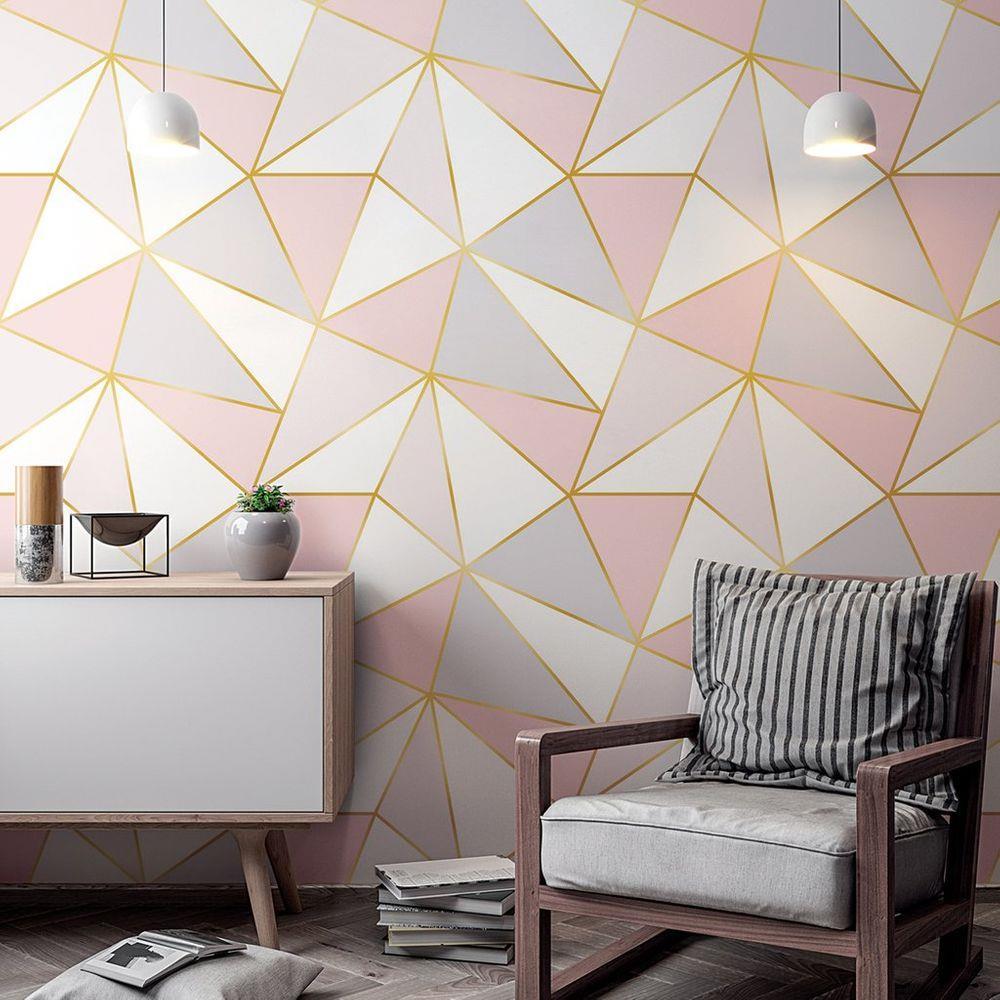 Papel de Parede Adesivo, Geometrico Rose Gold Triangulo Rosa, Cinza, Branco  - Final Decor