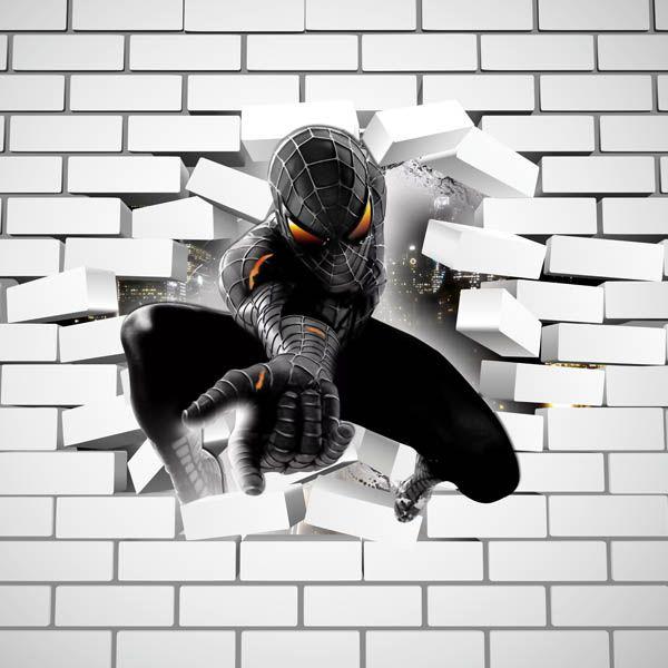 Papel de Parede Adesivo Homem Aranha Buraco Falso 3D  - Final Decor
