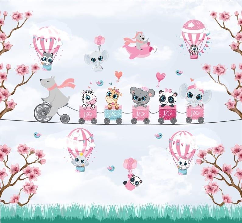 Papel De Parede Adesivo, Infantil Bichinhos Balões 1X1  - Final Decor