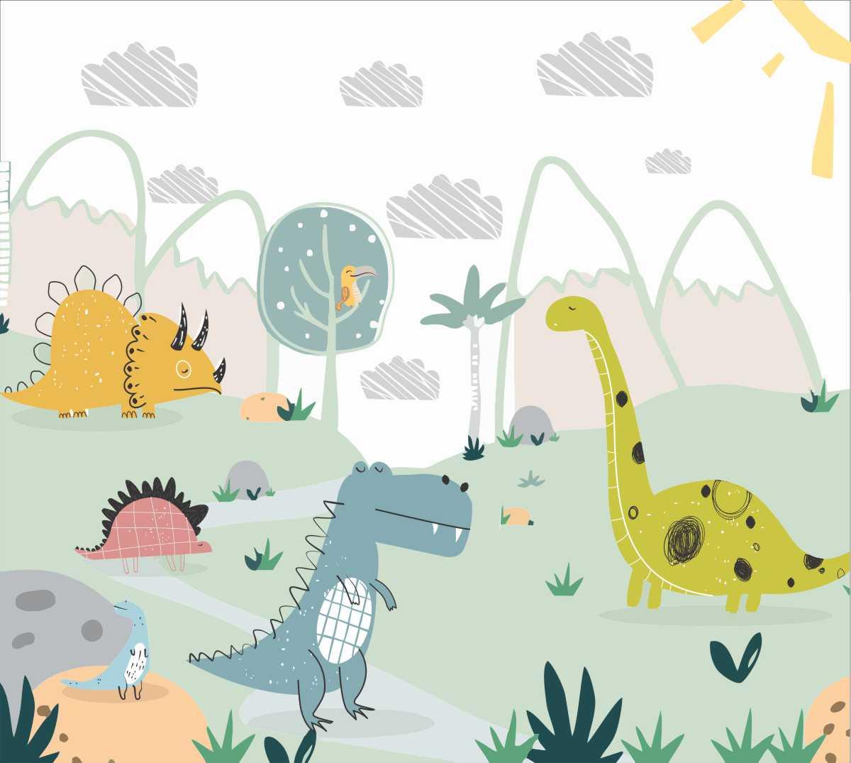 Papel De Parede Adesivo, Infantil Dinossauros Desenhados 1X1  - Final Decor