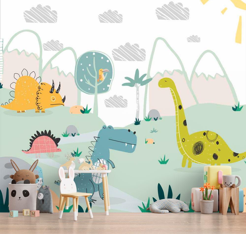 Papel De Parede Adesivo, Infantil Dinossauros Desenhados  - Final Decor