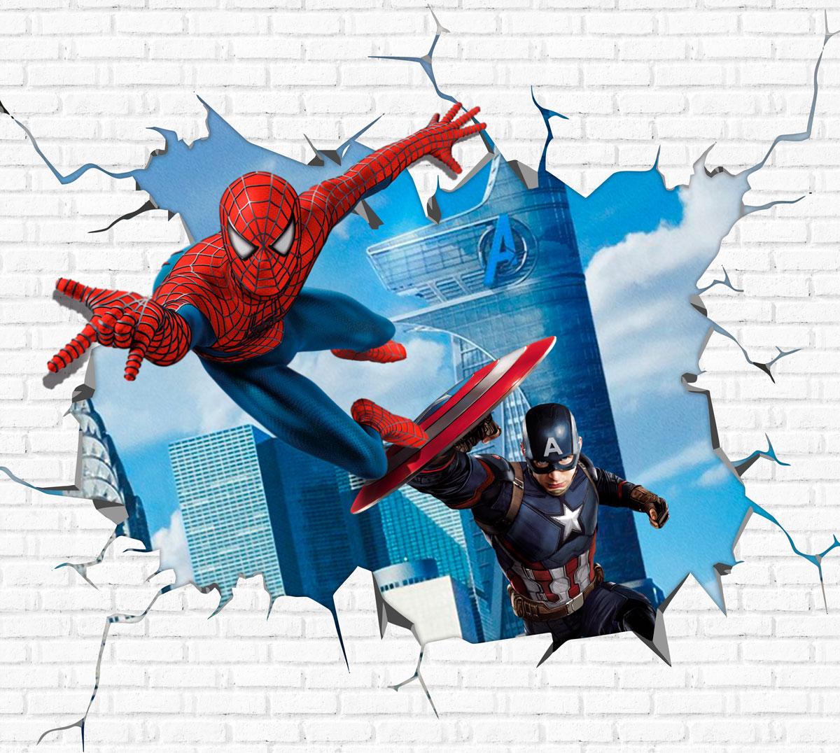 Papel De Parede Adesivo, Infantil Homem Aranha e Capitão América 1X1  - Final Decor