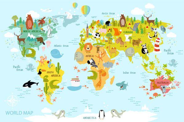 Papel de Parede Adesivo, Infantil Mapa Mundi Bichinhos  - Final Decor