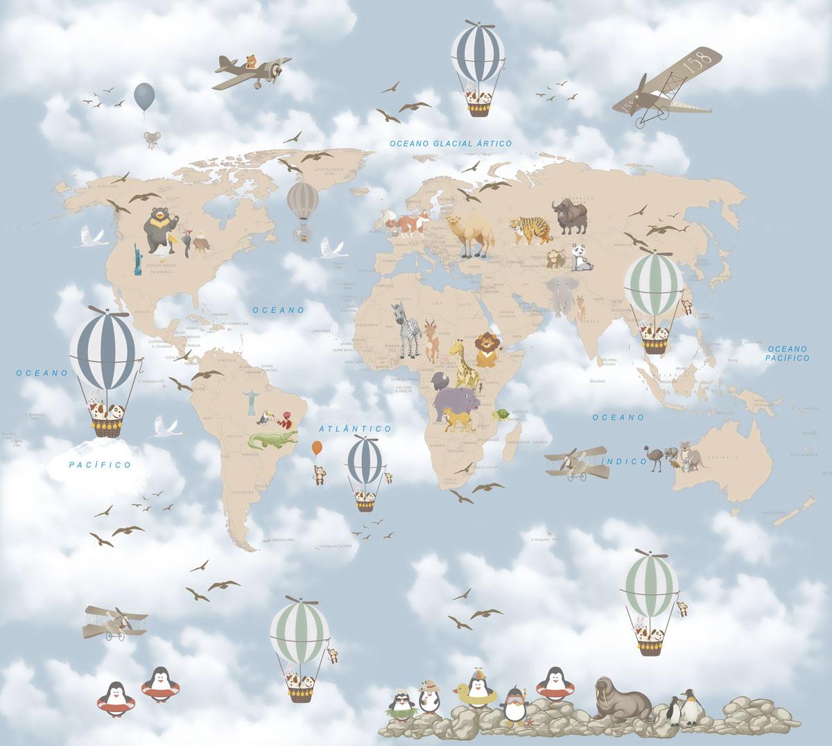 Papel De Parede Adesivo, Infantil Mapa Mundi Bichinhos Balão 1X1  - Final Decor