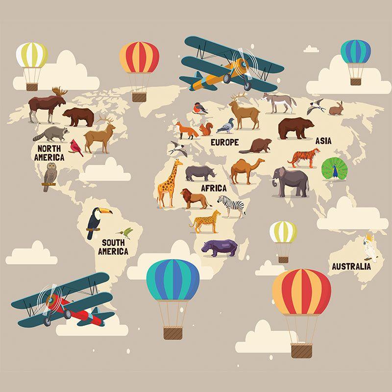 Papel de Parede Adesivo Infantil Mapa Mundi Safari Bege  - Final Decor