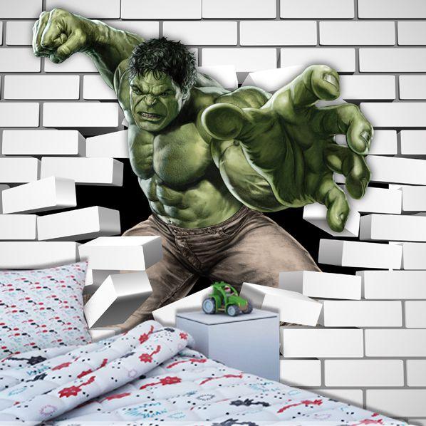 Papel de Parede Adesivo, Infantil Marvel Hulk dos Vingadores  - Final Decor