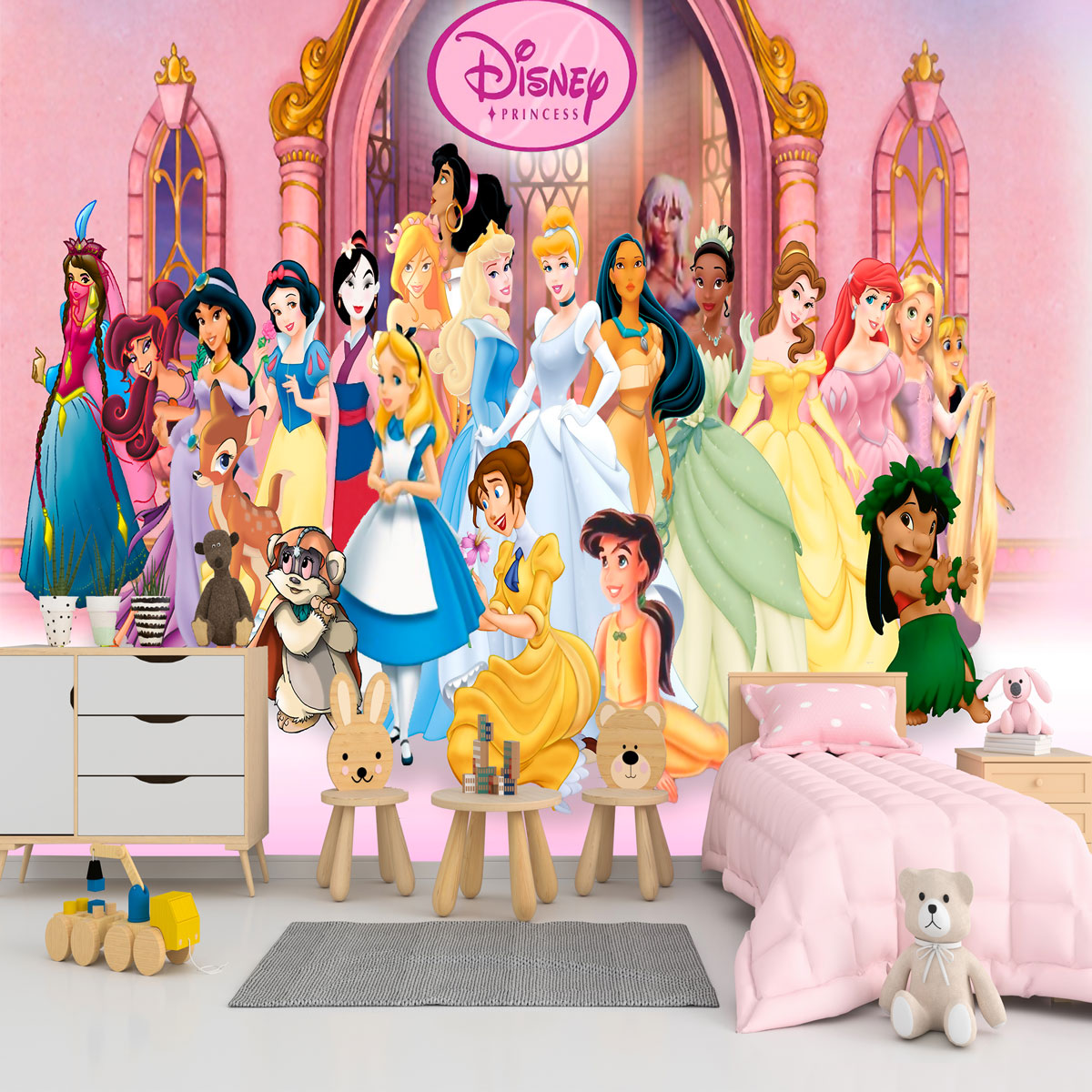 Papel de Parede Adesivo, Infantil Princesas Completo  - Final Decor