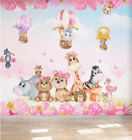 Papel De Parede Adesivo Infantil Safari Balão  - Final Decor