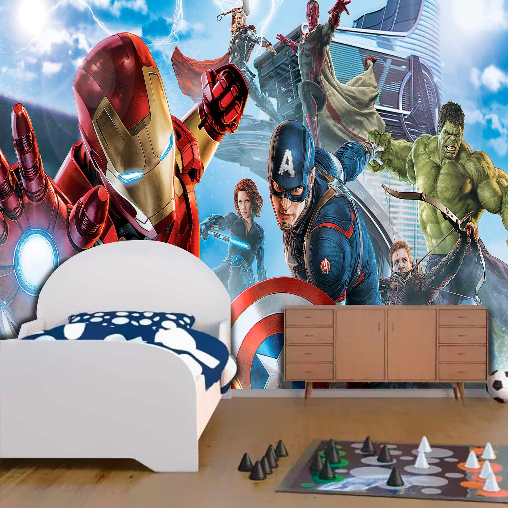 Papel De Parede Adesivo, Infantil Vingadores Marvel Homem de Ferro Voando 1X1  - Final Decor