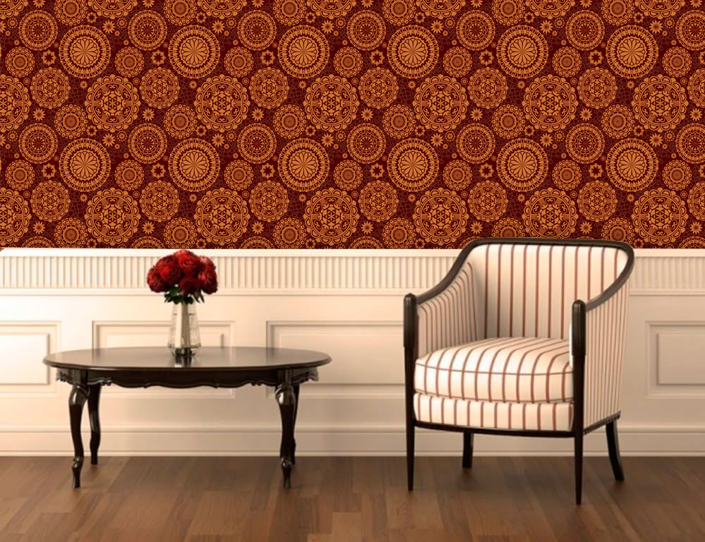 Papel de Parede Adesivo Lavável Floral Mandalas Marrom F0094  - Final Decor