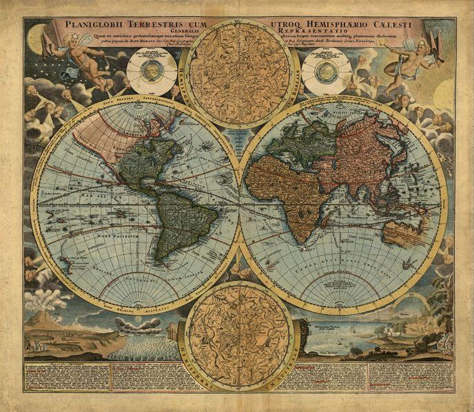 Papel de Parede Adesivo, Mapa Múndi Antigo Signo  - Final Decor