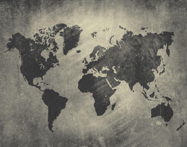 Papel de Parede Adesivo Mapa Múndi Cimento Queimado  - Final Decor