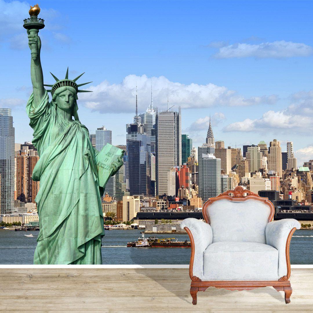 Papel de Parede Adesivo Personalizado, NY, Estatua da Liberdade, Nova York  - Final Decor