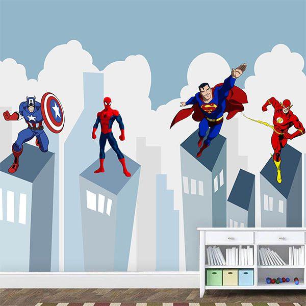 Papel de Parede Adesivo Super - Heróis  - Final Decor