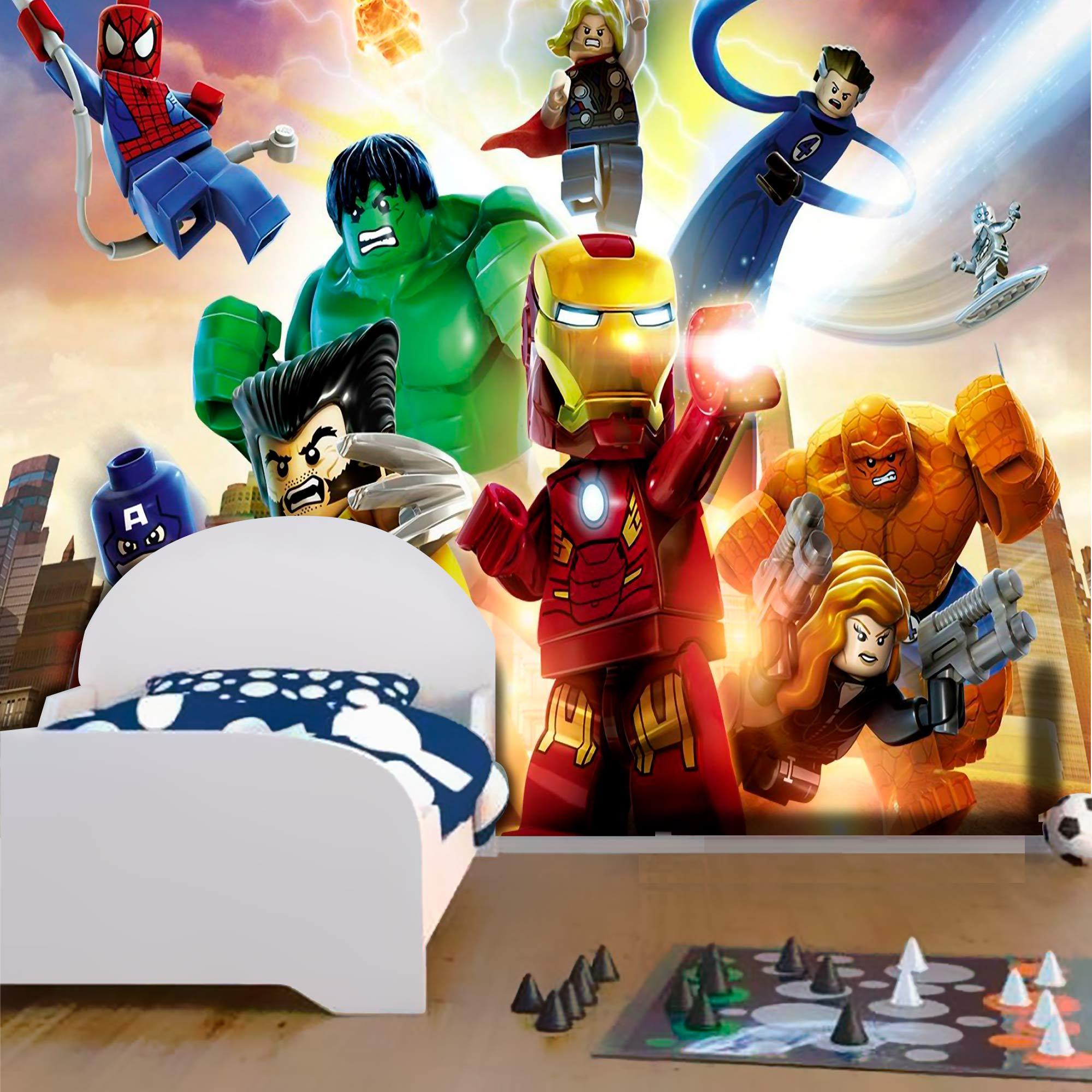 Papel De Parede Adesivo Vingadores Lego Quarteto Fantástico  - Final Decor