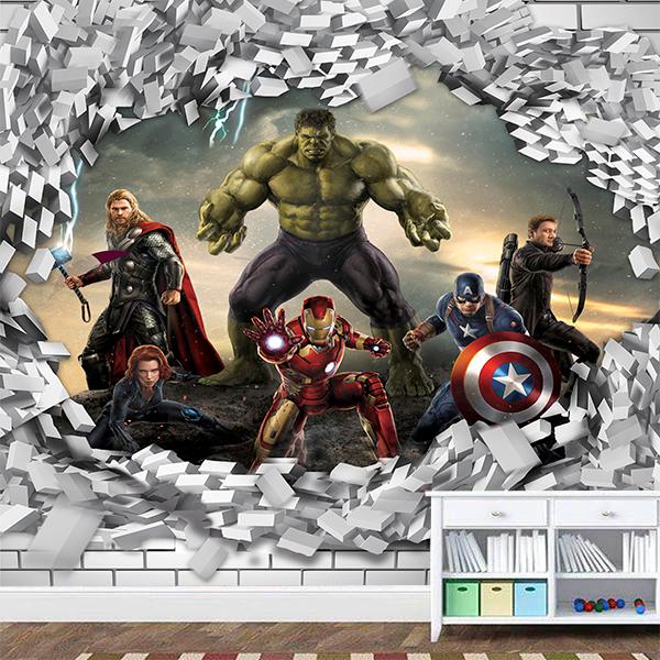 Papel de Parede Adesivo Vingadores Marvel 3D Buraco Parede 1X1  - Final Decor
