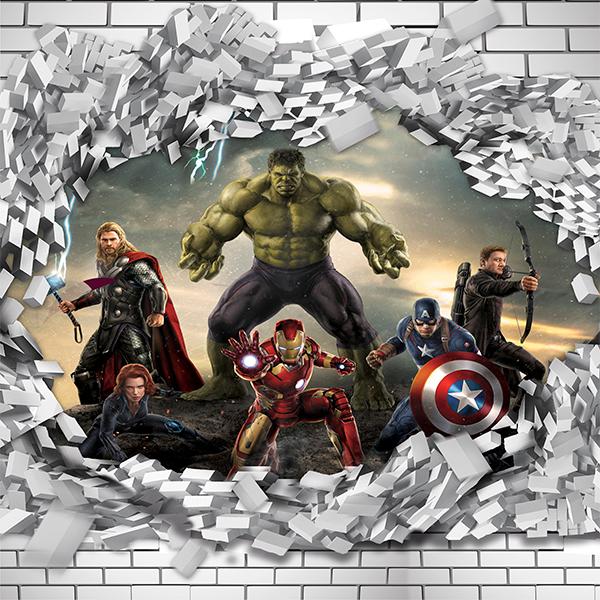Papel de Parede Adesivo Vingadores Marvel 3D Buraco Parede  - Final Decor