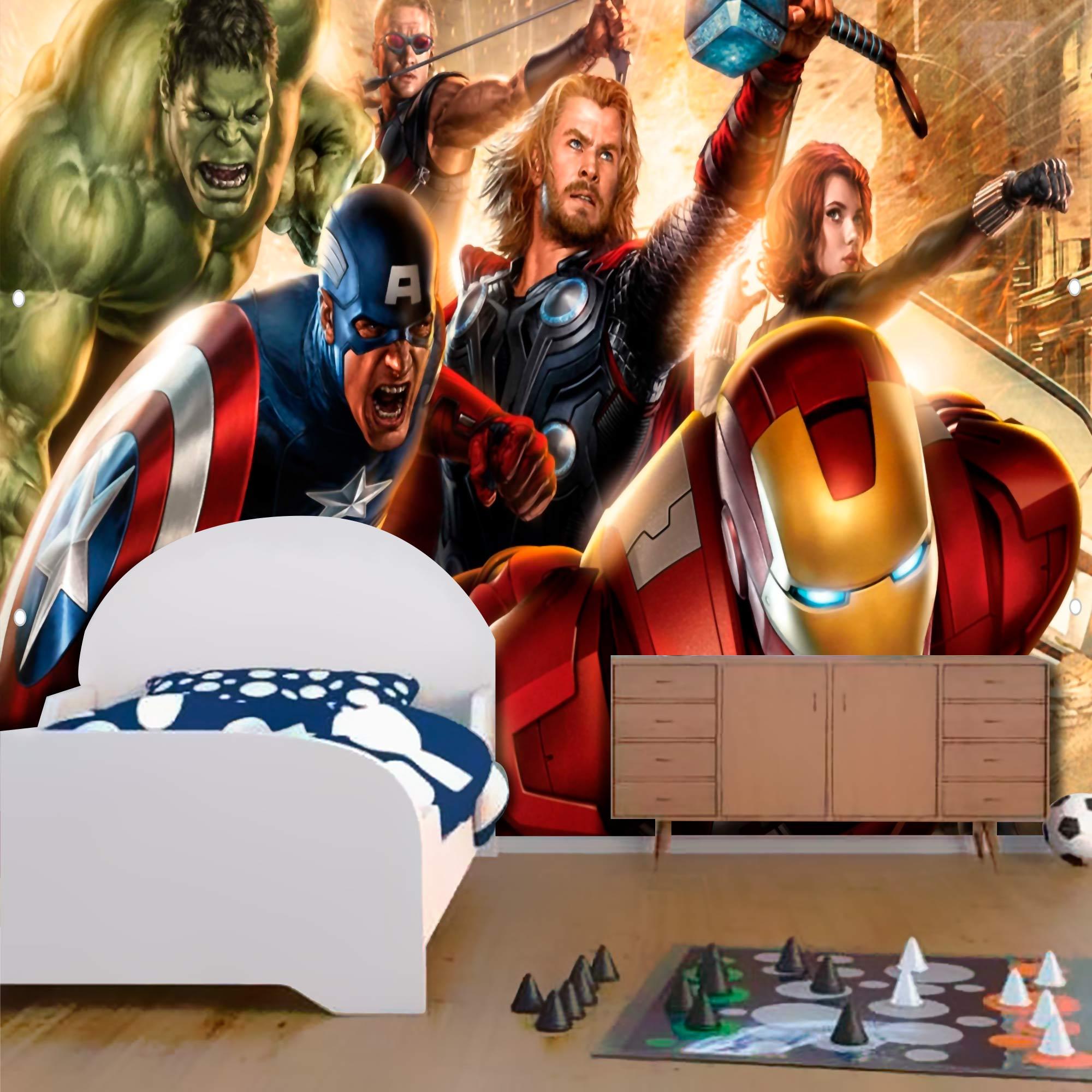 Papel De Parede Adesivo Vingadores Marvel Amarelado 1X1  - Final Decor