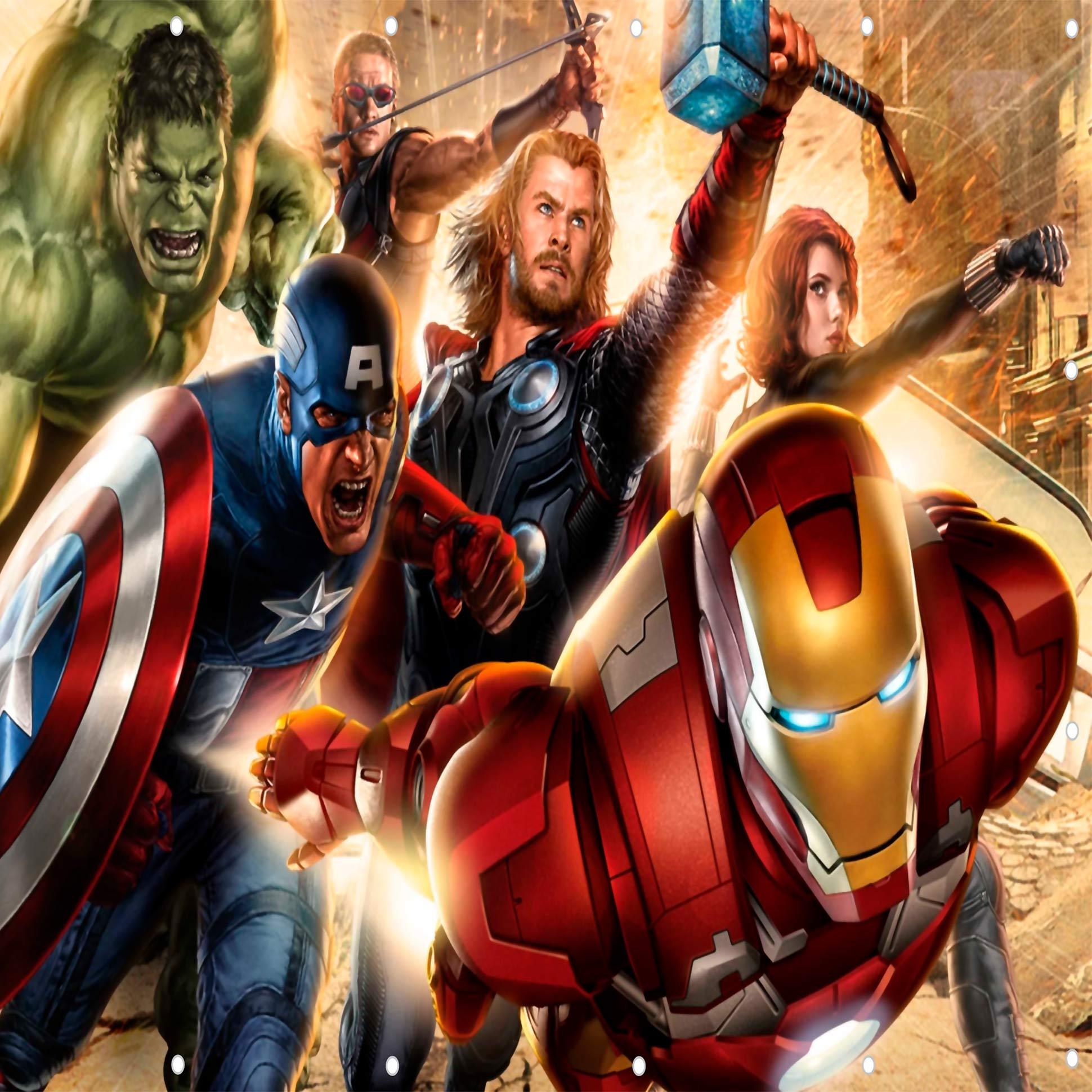 Papel De Parede Adesivo Vingadores Marvel Amarelado  - Final Decor