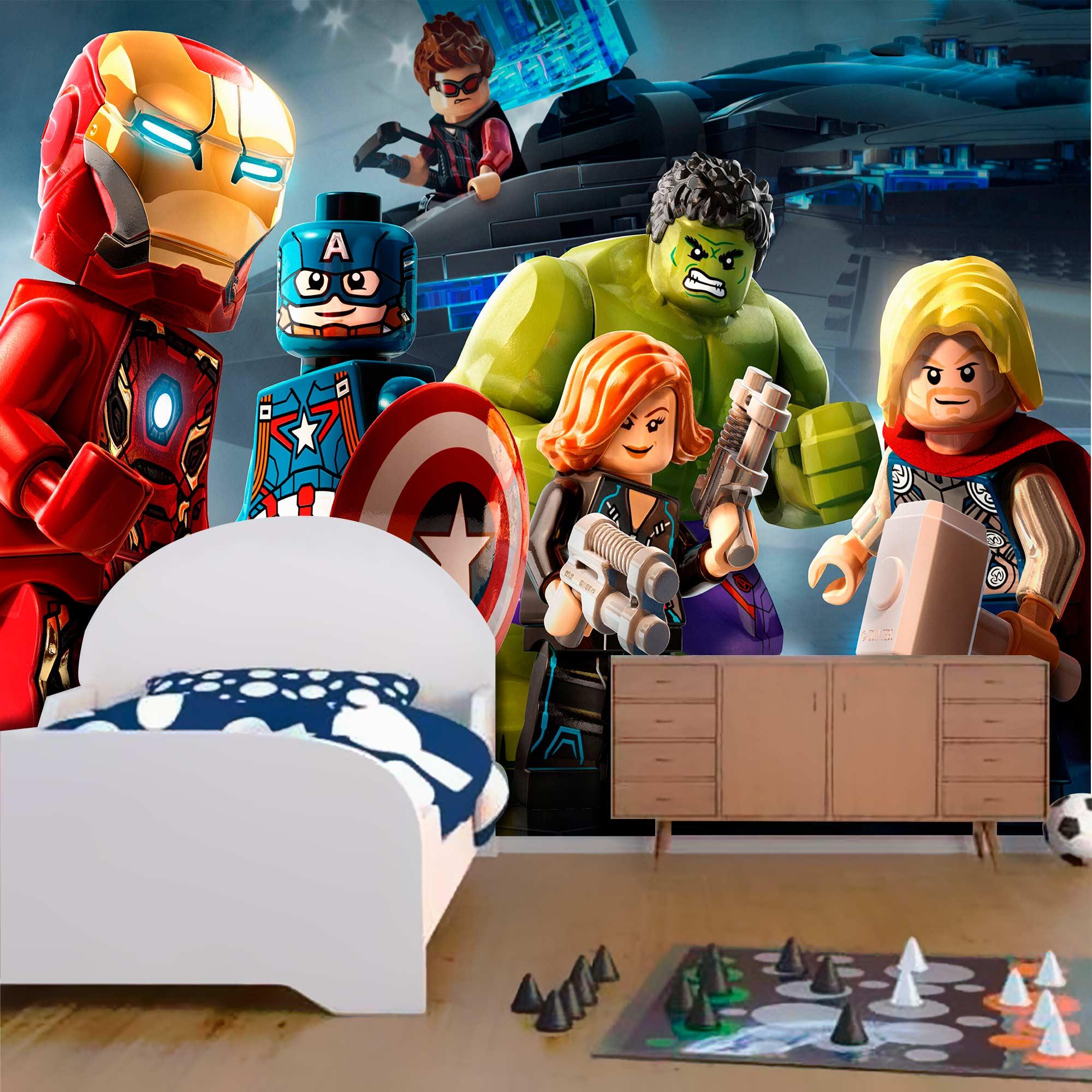 Papel De Parede Adesivo Vingadores Marvel Lego  - Final Decor