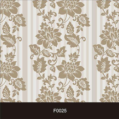 Papel de Parede Adesivo Lavável f0025 Floral Listrado Bege  - Final Decor