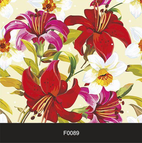 Papel de Parede Adesivo Lavável f0089 Floral Vermelhas e Rosa  - Final Decor