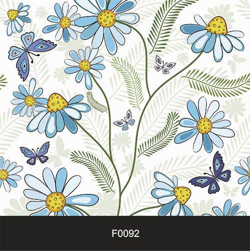Papel de Parede Adesivo Lavável f0092 Floral Margarida azul  - Final Decor