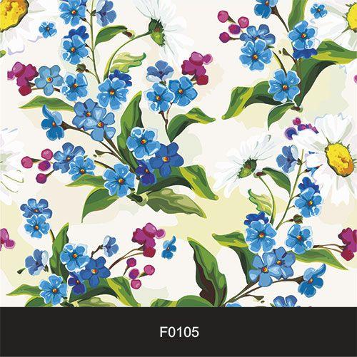 Papel de Parede Adesivo Lavável f0105 Floral Azul  - Final Decor
