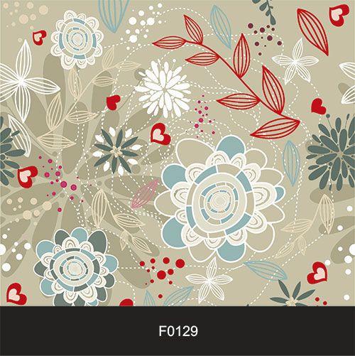 Papel de Parede Adesivo Lavável f0129 Floral Folha e Coração  - Final Decor