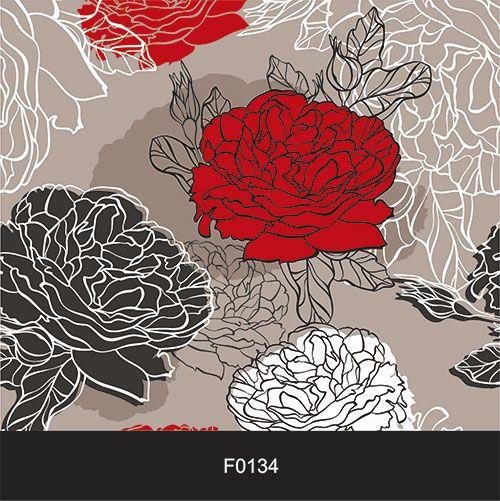 Papel de Parede Adesivo Lavável f0134 Floral Rosa Vermelha e Branca  - Final Decor