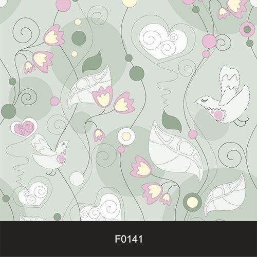 Papel de Parede Adesivo Lavável Floral Pássaro, Coração, Azul F0141  - Final Decor