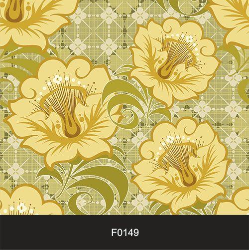 Papel de Parede Adesivo Lavável f0149 Floral Retrô Amarelo  - Final Decor