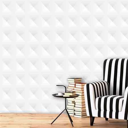 Papel de Parede Auto Adesivo Lavável Abstrato ab0002  3d Branco  - Final Decor