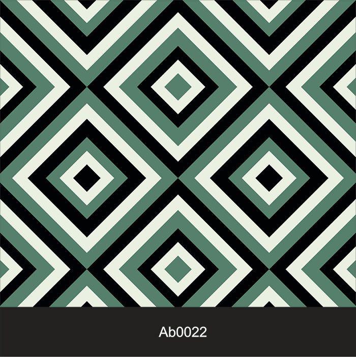 Papel de Parede Auto Adesivo Lavável Abstrato ab0022 Retrô Verde  - Final Decor