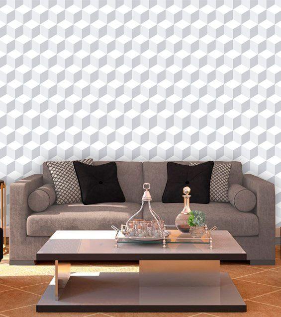 Papel de Parede Auto Adesivo Lavável Abstrato ab0030 Revestimento 3d Branco  - Final Decor