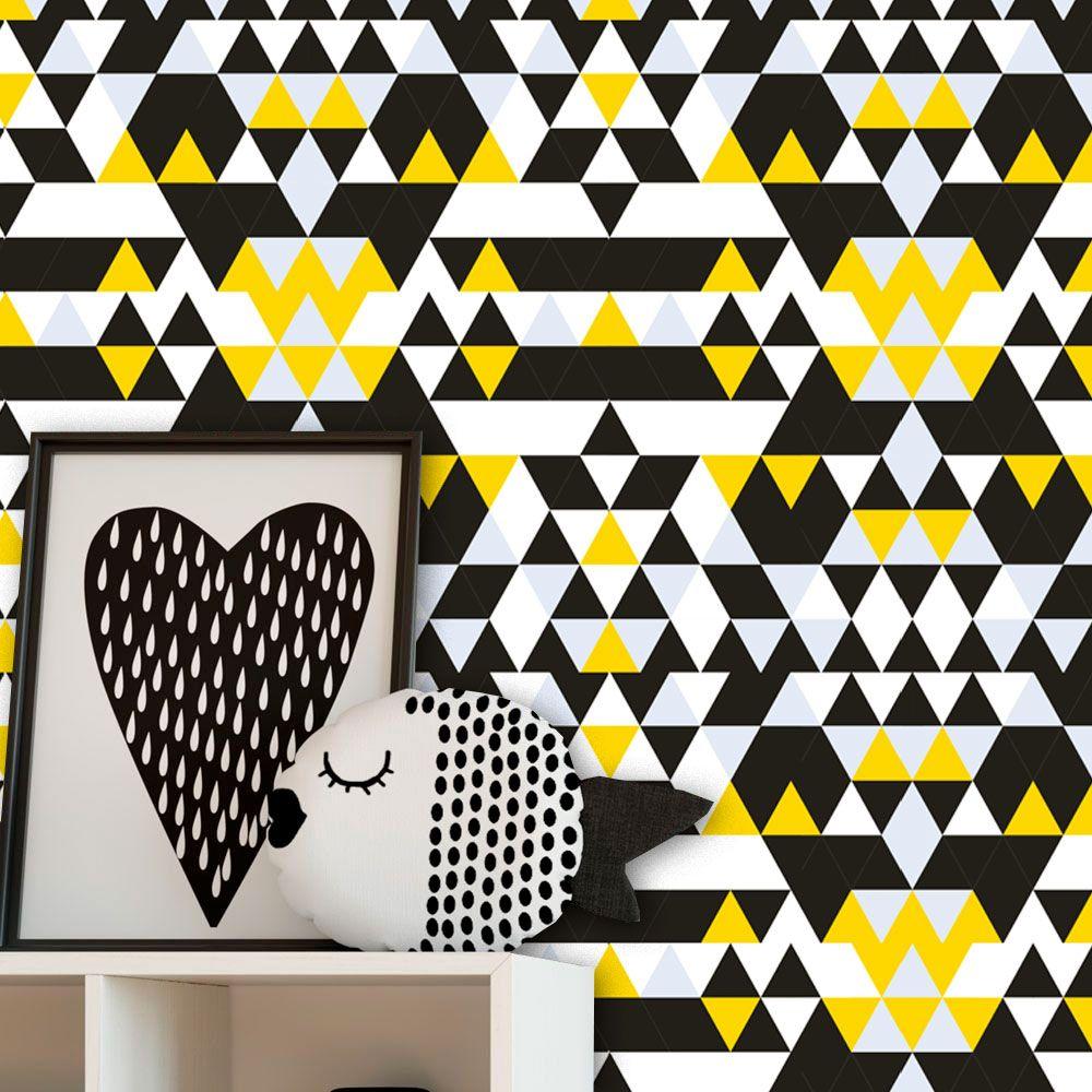 Papel de Parede Auto Adesivo Lavável Abstrato ab0052 Geometrico Amarelo e Preto  - Final Decor