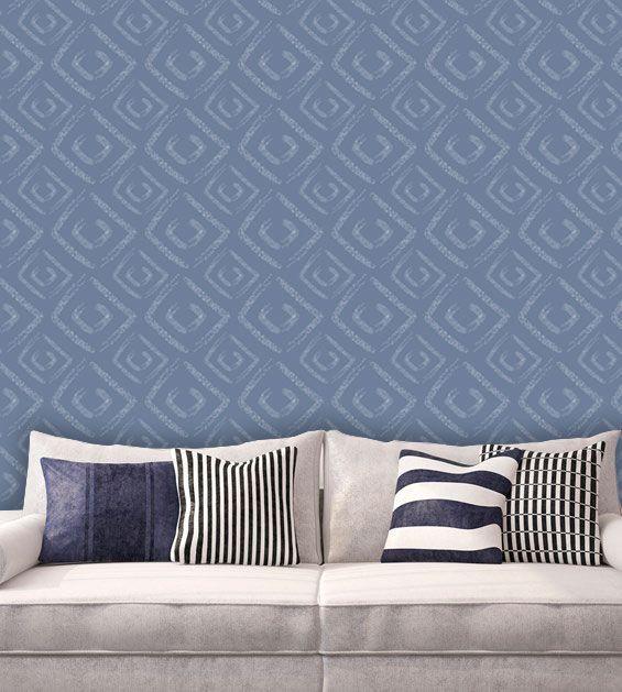 Papel de Parede Auto Adesivo Lavável Abstrato Losango Azul AB0055   - Final Decor