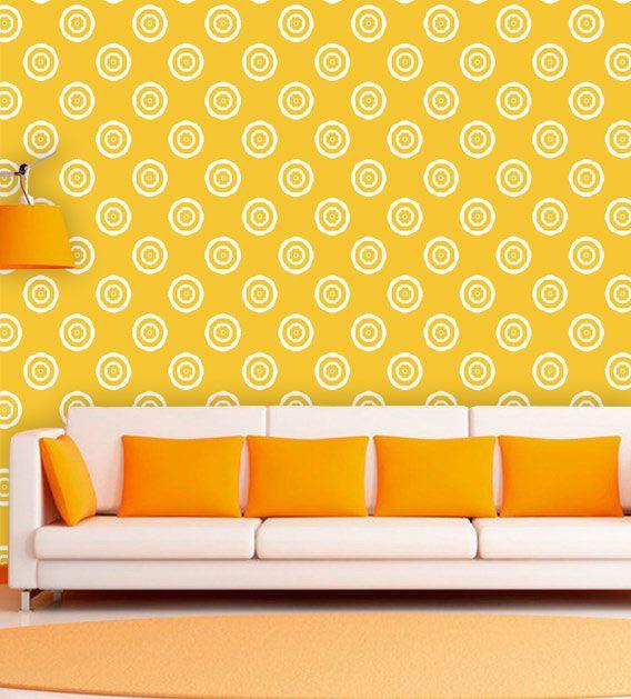 Papel de Parede Auto Adesivo Lavável Abstrato Círculos Amarelos AB0074  - Final Decor