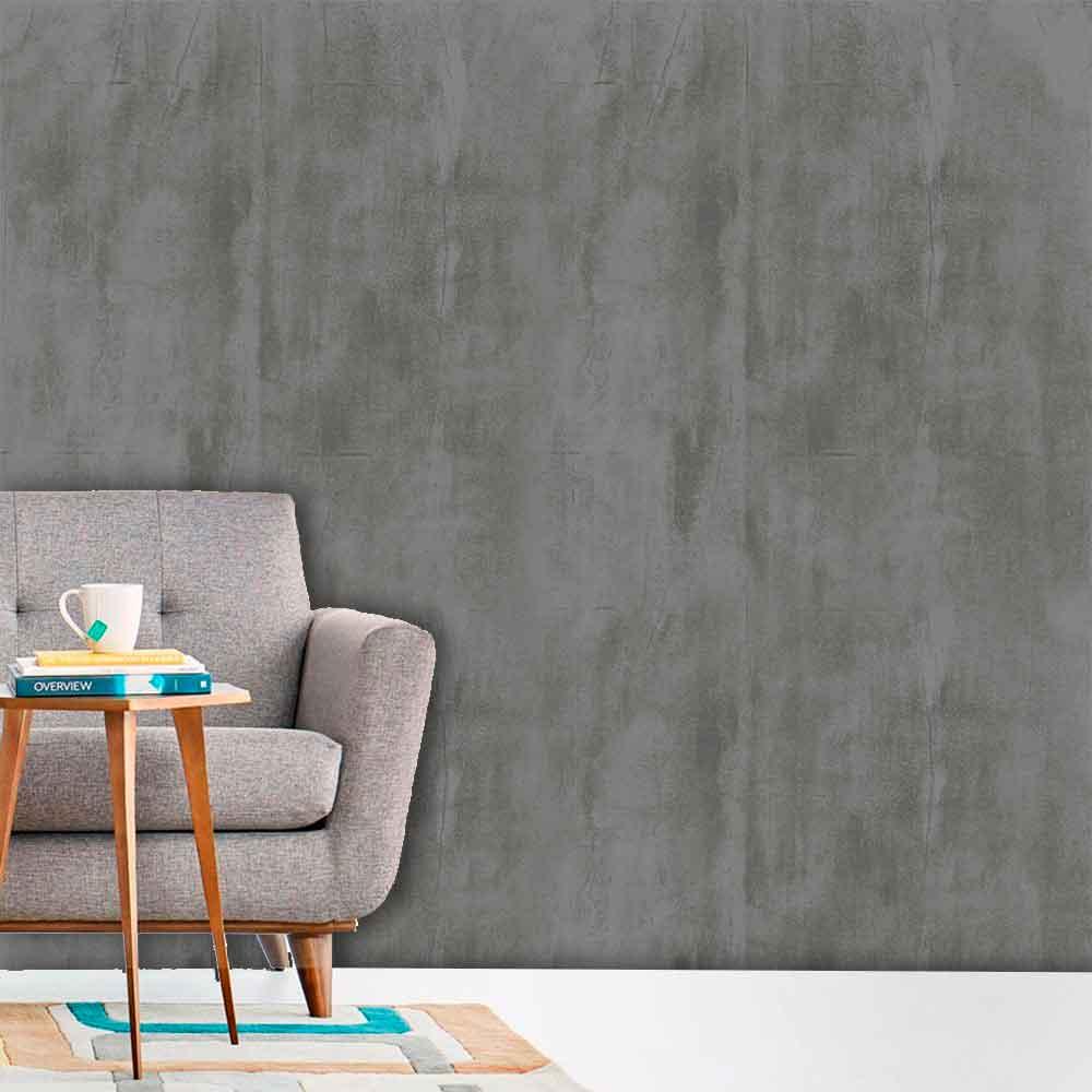 Papel de Parede Auto Adesivo Lavável Cimento Queimado C0006 Cinza Escuro  - Final Decor