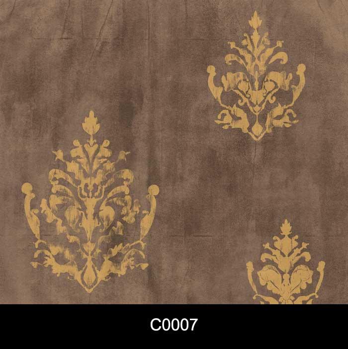 Papel de Parede Auto Adesivo Lavável Cimento Queimado C0007 Arabesco Dourado  - Final Decor