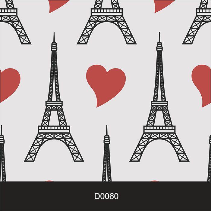 Papel de Parede Auto Adesivo Lavável Diversos Torre Eiffel com Coração D0060  - Final Decor