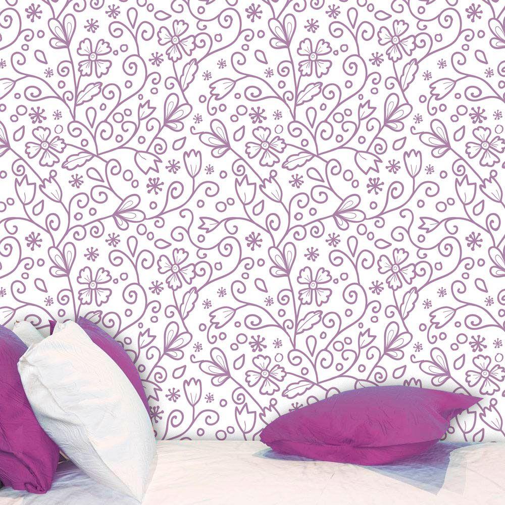 Papel de Parede Adesivo Lavável f0018 Floral Folhas Violetas  - Final Decor