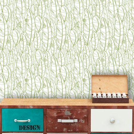 Papel de Parede Adesivo Lavável f0021 Floral Folhas Verdes  - Final Decor