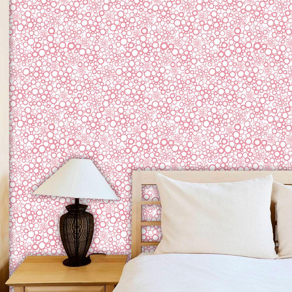 Papel de Parede Adesivo Lavável f0024 Floral Círculos Rosa  - Final Decor