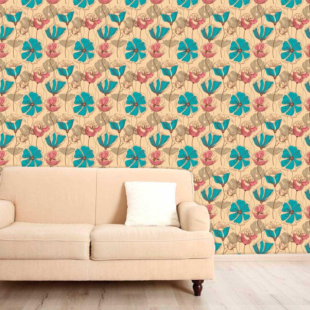 Papel de Parede Adesivo Lavável f0031 Floral Rosa e Azul Retro  - Final Decor